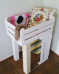 WEBSTA @ blogmaonacasa - ✨Super fofo esse arranhador para gatos feito com caixote de feira! Marque seu amigo gateiro que curte mimar os bichinhos  via Pinterest