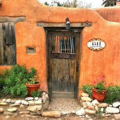 Old Doors, Windows And Doors, Personalized Signs For Home, New Mexico Homes, Mexican Home Decor, Adobe House, Santa Fe Style, Southwest Style, Southwestern Doors