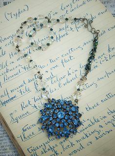Sapphire rhinestone repurposed brooch.