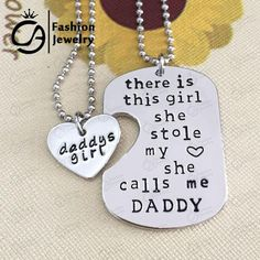 There is this girl she Stole my heart she calls me DADDY GIRL DAUGHTER  Heart Pendant Necklace | Mopixiestore.com