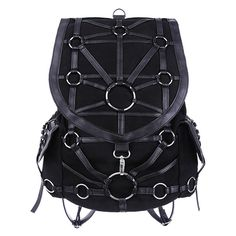 O-Ring Backpack Gothic Bag by Restyle ($71) ❤ liked on Polyvore featuring bags, backpacks, purses, goth backpack, knapsack bag, backpack bags, gothic backpack and gothic bags