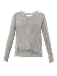 Asymmetric fine-knit wool sweater | Alexander Wang | MATCHESFA...
