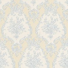 Satin Charm (20545) - Albany Wallpapers - An all over vinyl, wallcovering design with an elegant damask with floral detailing. Shown here in cream with blue detailing. Other colourways are available. Please request a sample for a true colour match.
