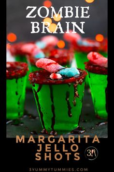 These Zombie Brain Margarita Jello shots with triple sec, lime juice,lime-flavored Jello and gold tequila are perfect for Halloween parties. Top these little treats off with fake blood, gummy worms and a red sugared rim for a spooky effect.