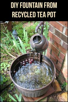 Do you have an old tea pot at home? Turn it into a nice backyard water feature! Here are instructions on how to make a water fountain out of an old tea pot.