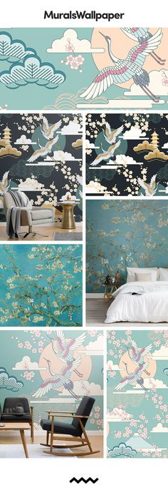 These oriental inspired wallpapers are colourful, serene and full of traditional East Asian motifs that are believed to represent good fortune and harmony, perfect for creating a sanctuary within your own home. Styled with simple but impactful furniture, you can achieve a real oriental design inspired space of your own. #orientalinspired #orientalwallpaper #orientaldesign #sereneinteriors #homesanctuary #orientalbirds