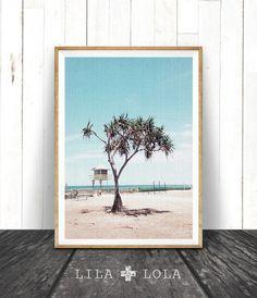 Beach Art, Beach Decor, Modern Decor costiere, foto spiaggia, Palm Tree, capanna sulla spiaggia, spiaggia scena Wall Art, acqua blu arte stampabile