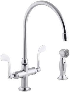 Kohler K-8763 Double Handle Single Hole Kitchen Faucet with Metal Lever Handles