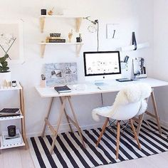 Home Decoration Ideas: Minimal Monochrome Black & White Office Space Inspiration - Simple Workspace Styling (The Design Chaser) Workspace Design, Home Office Design, Home Office Decor, House Design, Home Decor, Office Ideas, Office Setup, Small Workspace, Office Inspo
