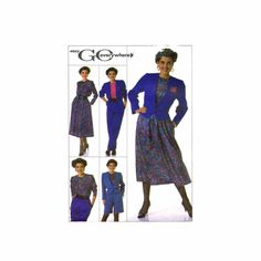 1980s Misses Skirt Pants Shorts Blouse Jacket Simplicity 9255 Vintage Sewing Pattern