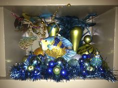 Mini Blue Aquarium made from old Christmas Decorations. Recycle / Upcycle