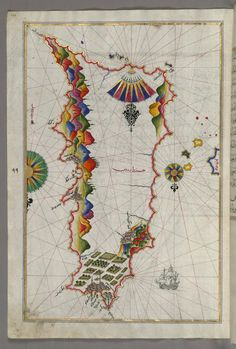 1525 Rhodes, Greece by Piri Reis #map #rodes #greece