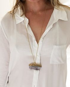 Crave Salt | Amethyst Chunk Gold Pendant Necklace – Online Jewelry Boutique
