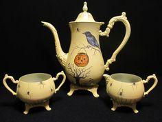 Halloween OOAK Hand Painted Spiders/Raven/Pumpkin Vintage Tea Set | eBay