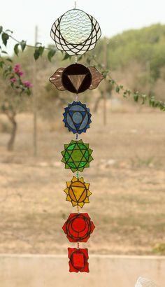Sacred geometry Suncatcher Chakras stained glass Yoga
