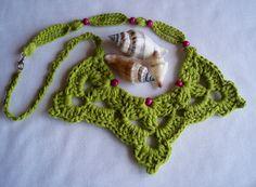 #Artesanía #complementos. #Collar de crochet de DIDIcrochet en fresca tonalidad verde. Venta  . http://DIDIcrochet.dawanda.com