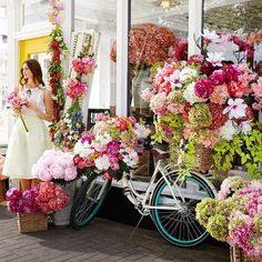 Our lovely model seems deep in thought. Maybe she's wondering how many more faux floral blooms she can fit on her bicycle. Flowers Nature, Faux Flowers, Fresh Flowers, Beautiful Flowers, Flowers Garden, Spring Flowers, Floral Wedding, Wedding Flowers, Flower Landscape