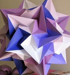 Purple, Blue and White Home Décor, Paper Origami by JewelryByJolanta