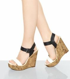 Black and White Colour Block Strappy Cork Wedges