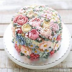 Dieser Blumentorte sieht so lecker aus! – Wedding Cakes – This flower cake looks so delicious! Gorgeous Cakes, Pretty Cakes, Cute Cakes, Amazing Cakes, Food Cakes, Wedding Cakes With Cupcakes, Cupcake Cakes, Cupcake Wedding, Sweets Cake