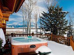 Winter Hot Tub on Deck Hot Tub Deck, Hot Tub Backyard, Backyard Patio, Inflatable Hot Tub Reviews, Whirlpool Deck, Outdoor Baths, Winter Cabin, Outside Living, Tub