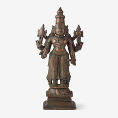 A COPPER ALLOY FIGURE OF VISHNU, Southern India, 17th Century CE, Live Auction, Mumbai, December 17, 2014