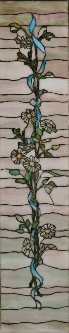 This has a lovely, organic feel to it. Art Nouveau Stained Glass Window Art glass, metal, and wood Early century Stained Glass Flowers, Stained Glass Designs, Stained Glass Projects, Stained Glass Patterns, Stained Glass Art, Stained Glass Windows, Mosaic Art, Mosaic Glass, Art Nouveau Flowers