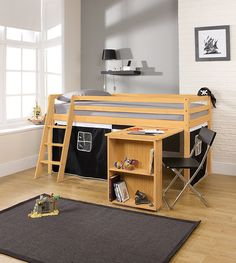 af855e8c8e26 Cabin Bed with Desk in Pirate Design ,PINE with Tent in PINE: Amazon.co.uk:  Kitchen & Home