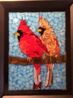 Stained glass mosaic Cardinal male and female couple courtesy of Kickin' Glass Kansas.