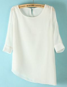 White Half Sleeve Asymmetrical Chiffon Blouse