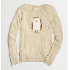 ????J.Crew factory sequin owl intarsia sweater M Heather oatmeal J.Crew Factory Sweaters Crew & Scoop Necks
