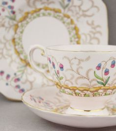 1950s Fine China Trio Tuscan   Vintage Porcelain Cup Saucer Plate