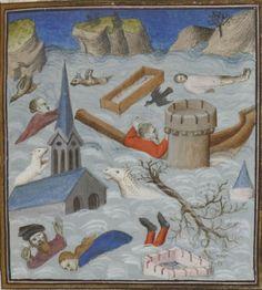 Bibliothèque nationale de France, Français 174, detail of f. 83r (the Flood). Augustine, De civitate dei. Paris, beginning of the 15th century.