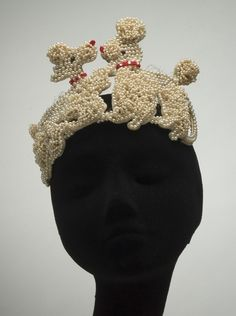 Hat (Poodles), Bes-Ben (American, 1898-1988): ca. 1950's, faux pearls, felt, velvet. [Everyone needs one. Seriously.]