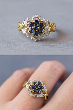 A vintage 1980's 14k two tone gold, blue Sapphire flower ring, with diamonds, offered by MintAndMade.