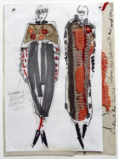 Fashion Sketchbook drawings with textile interpretations