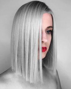 lob, long bob, died length hair, silver hair, straight cut bob, one length hair, blunt bob, 2018 hair inspiration, 2018 hair trends