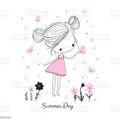 Les Doodle, Doodle Girl, Doodle Drawings, Easy Drawings, Little Girl Drawing, Little Girl Cartoon, Doodle People, Art Mignon, Cute Illustration