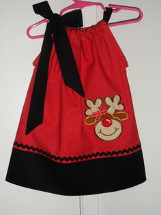 Christmas Reindeer Pillowcase Dress  Red/ Black by Just4Princess