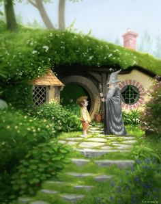 "Bilbo Meets Gandalf - by Erik Krenz: Created for Gallery Nucleus's ""Out of the Shire"" show Hobbit Art, O Hobbit, Legolas, Thranduil, Middle Earth, Lord Of The Rings, Lotr, Jrr Tolkien, Illustration Art"