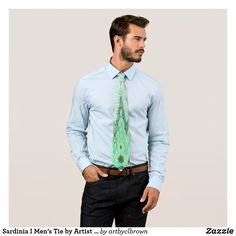"""The Sardinia I Men's Tie designed by Artist C.L. Brown features an abstract kinetic light painting edited for design in contemporary shades of varied blues, verdant greens, and Etruscan yellows that you'll love. The tie is made from 100% polyester and has a silky finish with a length of 55"""" and a width of 4"""" at the widest point. Dry clean only. Makes a great gift for the avid tie lover in your life!"""