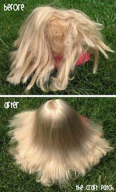 How to make your own doll hair detangling spray. Look at the difference! Sheesh!