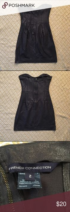 Metallic Black Strapless Dress This dress is super stretchy and comfortable, and can be dressed up or down. It has flattering gathers in the front and a sweetheart neckline. It's black with tiny silver spots that catch light beautifully. French Connection Dresses Strapless