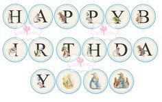 Peter Rabbit Happy Birthday Banner Digital Printable Banner