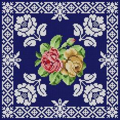 Roses & Lace On Blue multi functional craft pattern use for: cross stitch chart or cross stitch pattern, crochet pattern, knitting, knotting pattern, beading pattern, weaving and tapestry design, pixel art, micro macrame, friendship bracelets, and other crafting projects.