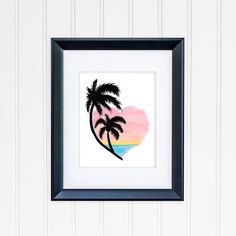 Check out this item in my Etsy shop https://www.etsy.com/listing/253089593/palm-tree-sunset-heart-art-8x10