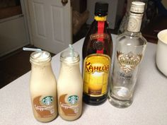 Starbucks Frappuccino, some Kahula, and Smirnoff Whipped Cream Vodka. Delish!!