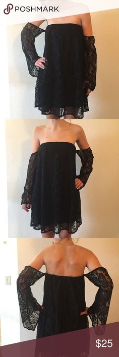 Off the shoulder black dress Never been worn dress with detailed sleeves Dresses Strapless