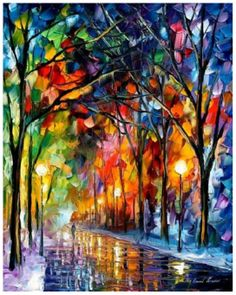 Winter Park,   painting by Leonid Afremov
