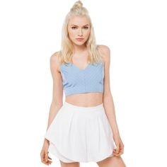 AKIRA Moonstruck Powder Blue Crop Top ($24) ❤ liked on Polyvore featuring tops, powder blue, strappy crop top, akira, strappy top y crop top